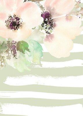 Carta da parati Biglietto di auguri con i fiori. Colori pastello. Fatto a mano.