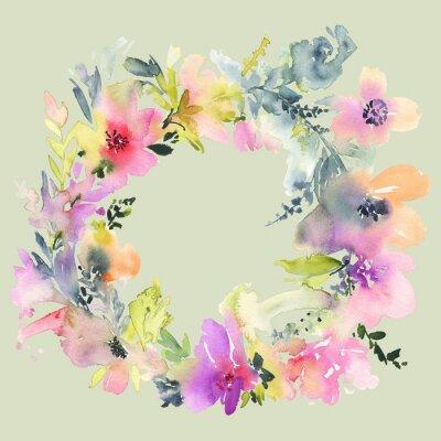 Carta da parati Biglietto di auguri con i fiori. Colori pastello. Fatto a mano. pittura ad acquerello. Matrimonio, compleanno, festa della mamma. addio al nubilato.