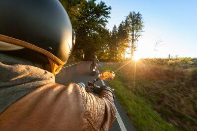 Carta da parati Biker equitazione moto in mattinata di sole