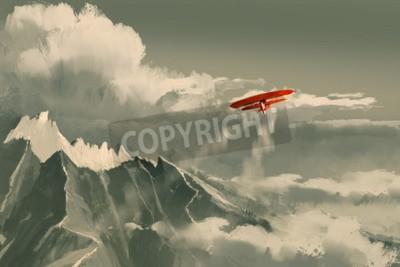 Carta da parati Biplano rosso che vola sopra montagna, illustrazione, pittura digitale