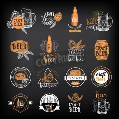 Carta da parati Birra distintivi ristorante vettore, disegno del menu di alcol.