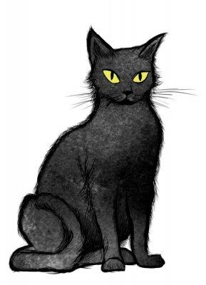 Carta da parati Black Cat seduto e guardando la telecamera