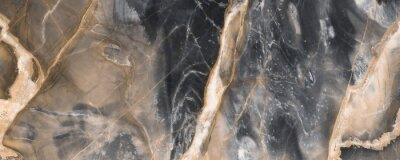 Carta da parati Black marble texture background with golden veins, Black marble natural pattern for background, Abstract black white and gold, Black and yellow marble for ceramic wall and floor tiles.