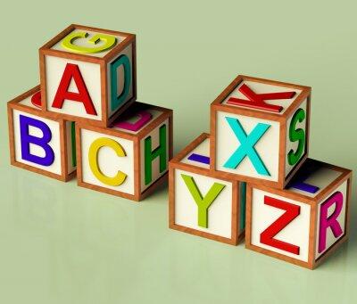 Carta da parati Blocchi per bambini con ABC e XYX come simbolo per l'istruzione e Learnin