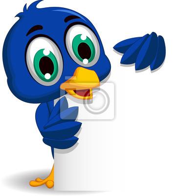 Blu cartone animato uccello con il segno in bianco carta da parati