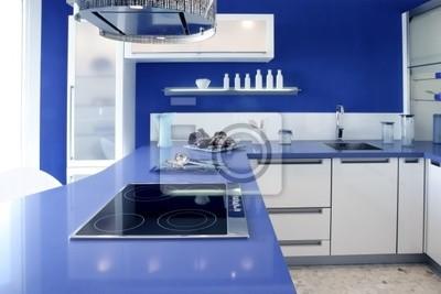 Cucina Blu Moderna.Carta Da Parati Blu Cucina Bianca Moderna Casa Di Interior Design