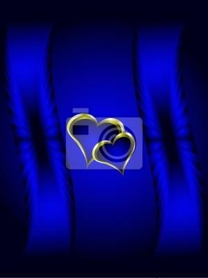 Blu E Oro Cuori Di San Valentino Sfondo Carta Da Parati Carte Da