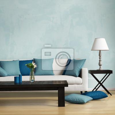 Blu stile contemporaneo, romantico interno soggiorno carta da parati ...