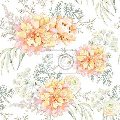 Blush Mazzi Di Fiori Rosa Su Sfondo Bianco Reticolo Senza Giunte