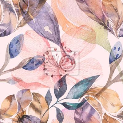 Carta da parati Boho modello acquerello senza soluzione di continuità di piume e fiori selvatici, foglie, rami di fiori, illustrazione, amore e piume, decorazione bohemien primavera fiore