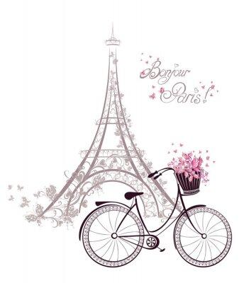 Carta da parati Bonjour testo Parigi con la Torre Eiffel e la bicicletta