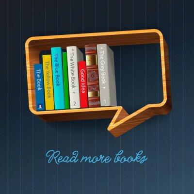Carta da parati Bookshelf forma di fumetto, illustrazione eps10.