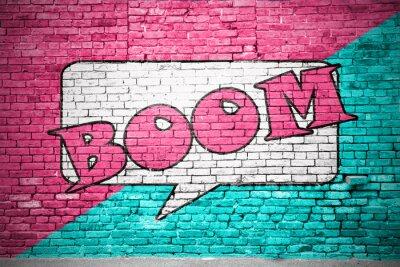 Carta da parati Boom fumetto muro di mattoni graffiti
