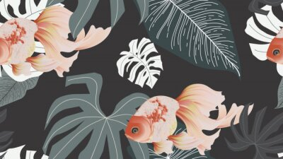 Carta da parati Botanical seamless pattern, pink lotus flowers and goldfish on dark grey background, pastel vintage style