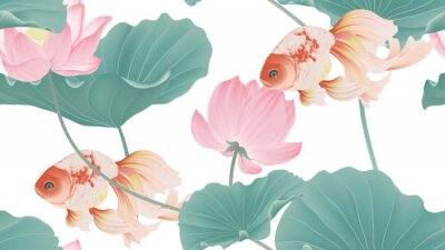 Carta da parati Botanical seamless pattern, pink lotus flowers and goldfish on white background, pastel vintage style