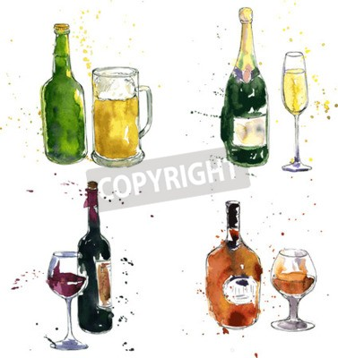 Carta da parati bottiglia di cognac e la tazza, bottiglia di vino e vetro, bottiglia di champagne e vetro, bottiglia di birra e la tazza, il disegno da acquerello e inchiostro, disegnati a mano illustrazione vettoria
