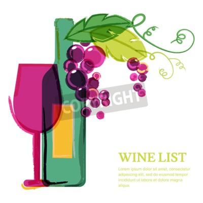 Carta da parati Bottiglia di vino, di vetro, di colore rosa vite, acquerello illustrazione. modello di progettazione vettore sfondo astratto. Concetto per carta dei vini, menù, flyer, partito, bevande alcoliche, cele