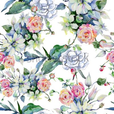 Carta da parati Bouquet di fiori teneri Motivo di sfondo senza soluzione di continuità. Trama di stampa carta da parati in tessuto. Acquerelli Wildflower di sfondo, trama, modello di involucro, telaio o bordo.