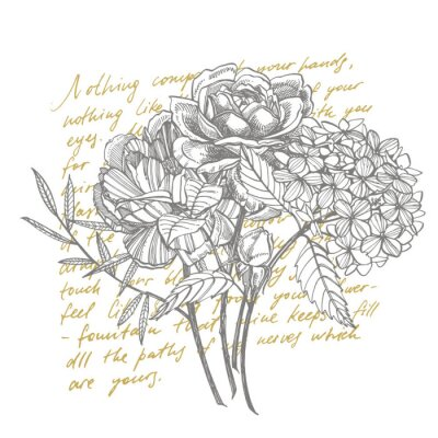 Carta da parati Bouquet. Spring Flowers and twigs. Peonies, Hydrangea, Rose. Vintage botanical illustration. Black and white set of drawing cornflowers, floral elements, hand drawn botanical illustration. Handwritten