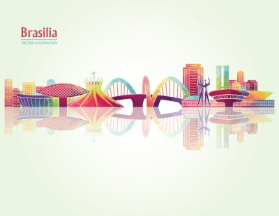 Carta da parati Brasilia skylines dettagliate. illustrazione vettoriale