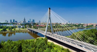 Carta da parati Bridge in Warsaw over Vistula river