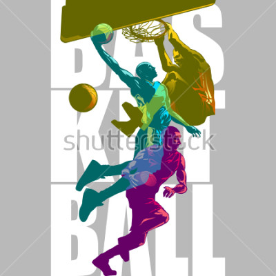 Carta da parati Bright Basketball players silhouettes with Colour Channel overlaping  sport illustration