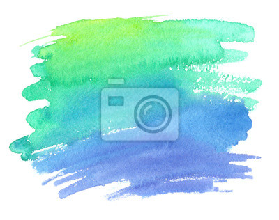 Brillante Sfumatura Di Colore Verde E Blu Macchia Dipinta Ad Carta