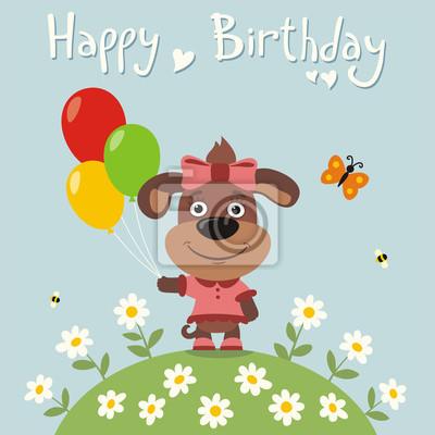 Buon Compleanno Cucciolo Di Bambina Con Palloncini Scheda Di Carta