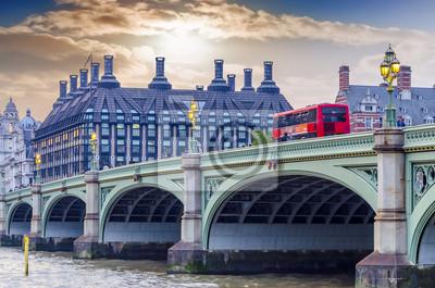 Carta da parati Bus rosso a due piani sul ponte di Westminster