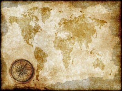 Carta da parati bussola con la mappa d'epoca