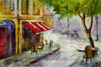 Carta da parati Caffè all'aperto pittura europea francese, disegno grafico a colori