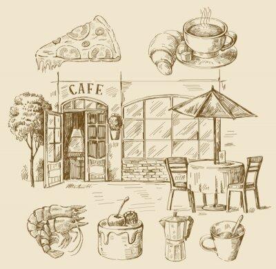 Carta da parati caffè disegnati a mano