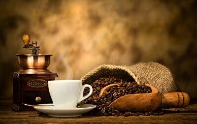 Carta da parati caffè espresso con il vecchio macinino da caffè
