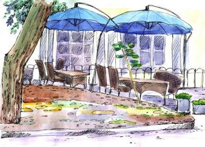 Carta da parati Caffè sulla via. ombrelloni blu, acquarello