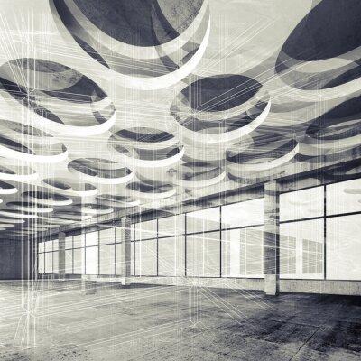 Carta da parati Calcestruzzo interni e wire-frame linee, illustrazione 3D