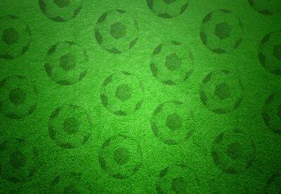 Carta da parati Calcio palle modello su sfondo verde erba. Concettuale copy calcio sfondo di spazio.