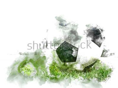 Carta da parati Calcio variopinto astratto su erba verde sul fondo della pittura dell'acquerello.