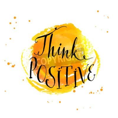 Carta da parati calligrafia moderna ispirazione citazione - pensare positivo - a sfondo giallo acquerello