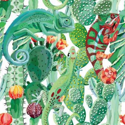 Carta da parati camaleonte e cactus sfondo trasparente