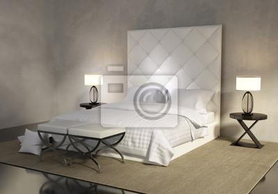 Camere Da Letto Bianche : Camera da letto bianco contemporaneo di lusso con letto