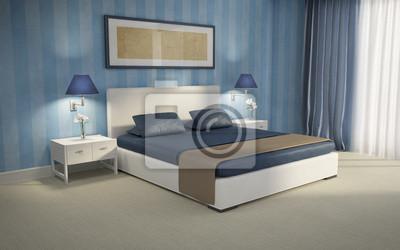 Carta da parati: Camera da letto blu di lusso chic rendering 3d sfondo blu