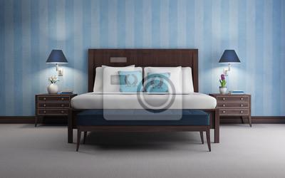 Camera Da Letto Blu : Camera da letto blu di lusso chic rendering 3d vista sfondo blu