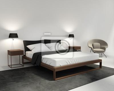Camera da letto elegante e contemporaneo con sedia classica carta da ...