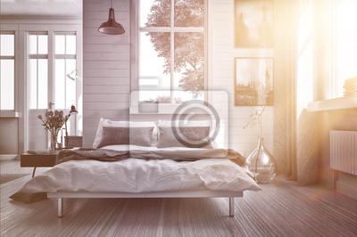 Camera da letto lussuosa con raggio di sole caldo carta da parati ...