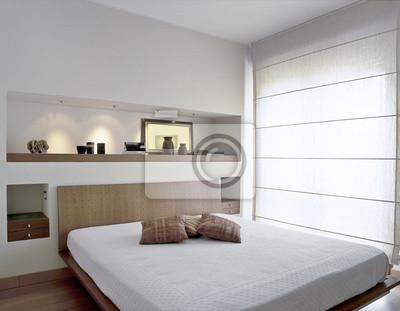 Camera da letto moderna con grande finestra carta da parati carte da parati tenda nicchia - Carta da parati camera da letto moderna ...