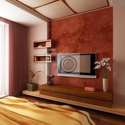 Carta da parati: Camera da letto stile moderno interior 3d rendering
