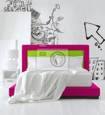 Camera da letto teen carta da parati • carte da parati grafity ...