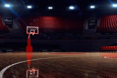 Carta da parati Campo da basket. Arena sportiva. Rendering 3D sfondo. unfocus in lontananza longshot