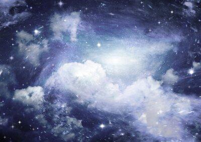 Carta da parati campo stellare nello spazio e una nebulosa