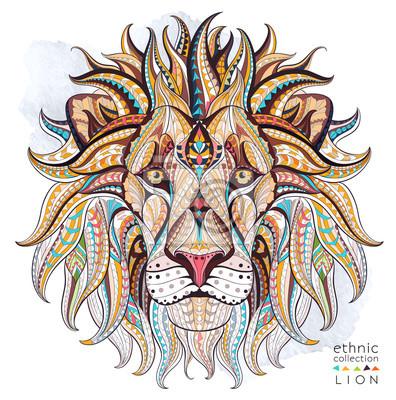 Carta da parati capo Patterned del leone sullo sfondo del grunge. / Disegno / totem / tatuaggio indiano africano. Esso può essere utilizzato per la progettazione di una t-shirt, sacchetto, cartolina, un poster e così